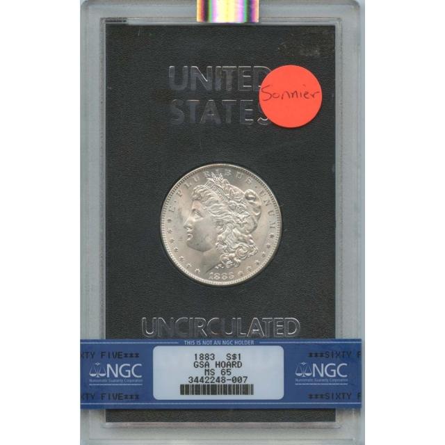 1883 Morgan Dollar GSA Hoard $1 NGC MS 65 Sonnier