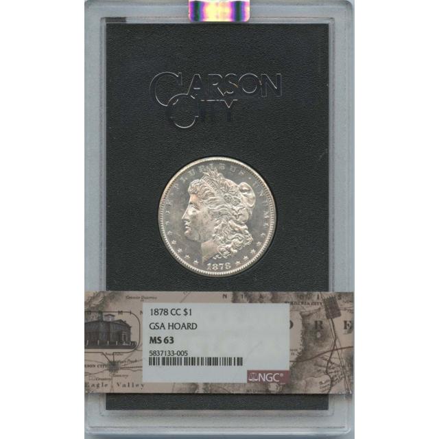 1878-CC Morgan Dollar GSA S$1 NGC MS63 Carson City Label