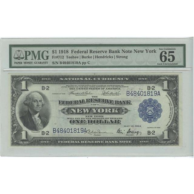 1918 $1 Federal Reserve Bank Note New York FR#712 PMG 65 EPQ Gem Unc