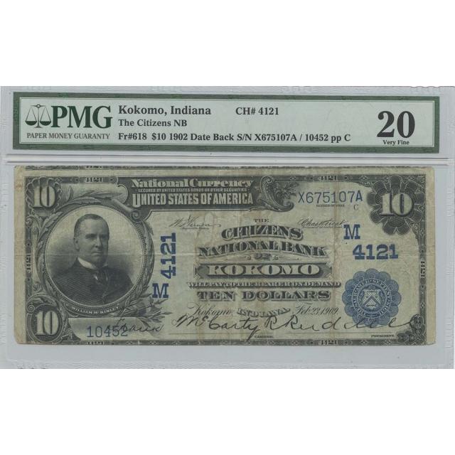 1902 $10 Citizens NB Kokomo IN CH#4121 PMG VF20