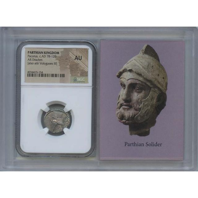 Pacorus, c.AD 78-120 PARTHIAN KINGDOM AR Drachm NGC AU55 Story Vault