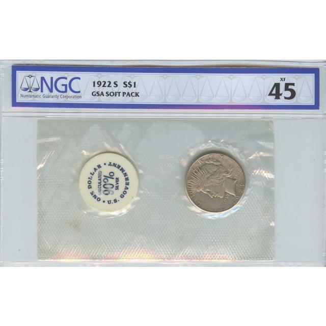 1922-S Peace Dollar GSA SOFT PACK S$1 NGC XF45