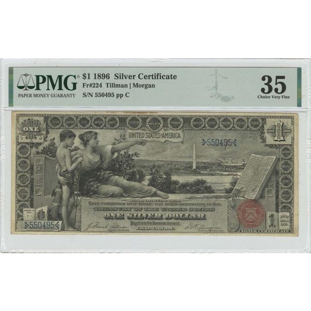 1896 $1 Silver Certificate Small Red Tillman Morgan Fr# 224 PMG CVF35