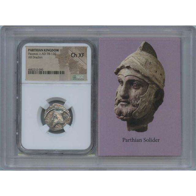 Pacorus, c.AD 78-120 PARTHIAN KINGDOM AR Drachm NGC XF45 Story Vault