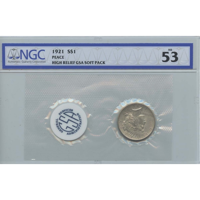 1921 Peace Dollar HIGH RELIEF GSA SOFT PACK S$1 NGC AU53