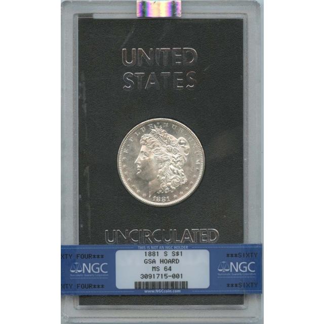 1881-S Morgan Dollar GSA HOARD S$1 NGC MS64