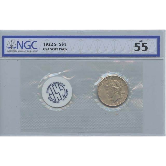 1922-S Peace Dollar GSA SOFT PACK S$1 NGC AU55