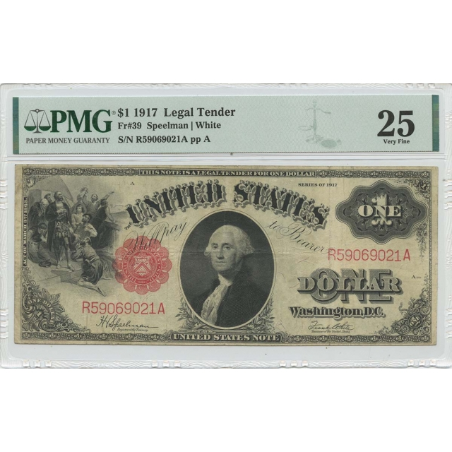1917 $1 Legal Tender Small Red Scalloped  Fr# 39 PMG VF25
