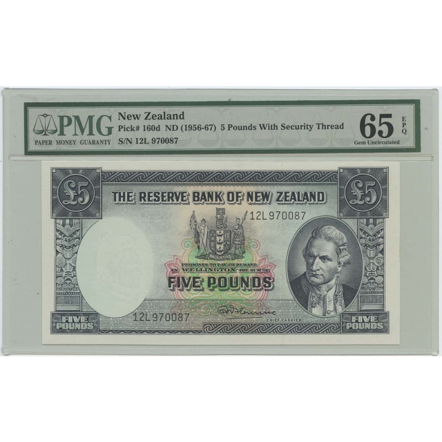 1956-67 New Zealand 5 Pd Pick#160d PMG 65 Gem UNC EPQ Security Thread
