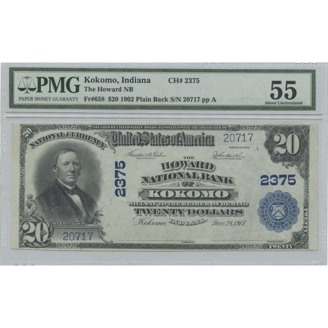 1902 $20 The Howard NB Kokomo IN CH#2375 PMG AU55