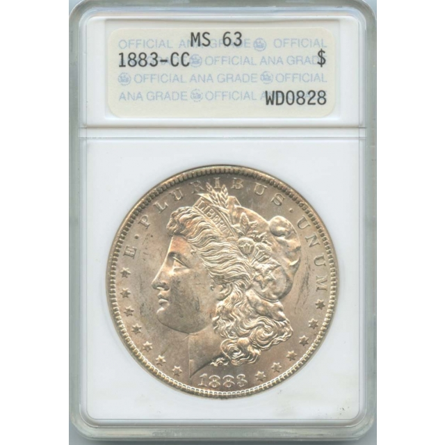1883-CC Morgan Dollar ANACS MS63 Old Holder with Gold Foil