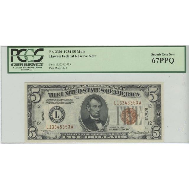 1934 $5 Hawaii WW2 PCGS 67 SUPERB GEM NEW PPQ FR#2301 LA Block