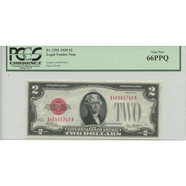 1928 $2 Legal Tender FR#1501 PCGS 66 PPQ Gem