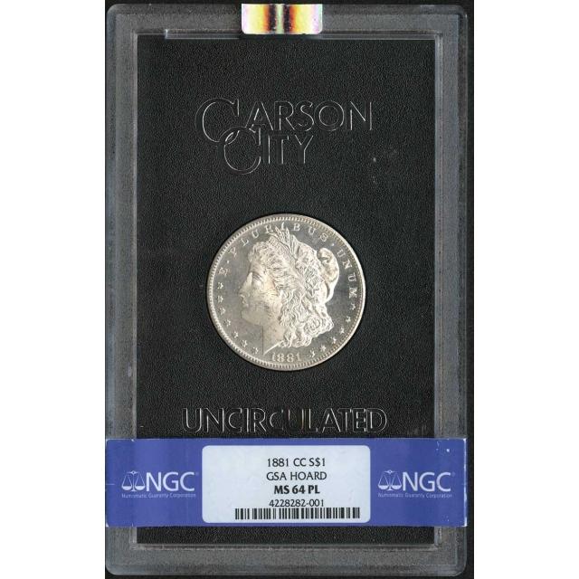 1881-CC Morgan Dollar GSA HOARD S$1 NGC MS64PL