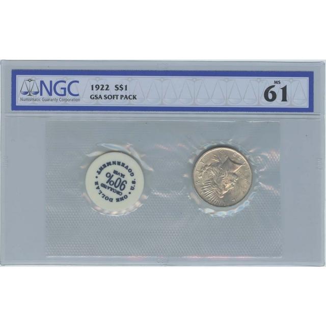 1922 Peace Dollar GSA SOFT PACK S$1 NGC MS61