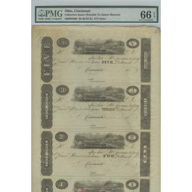 Cincinnati, (OH) $5-$3-$2-$1 18__ Obsolete PMG Gem 66 EPQ Sheet Monroe