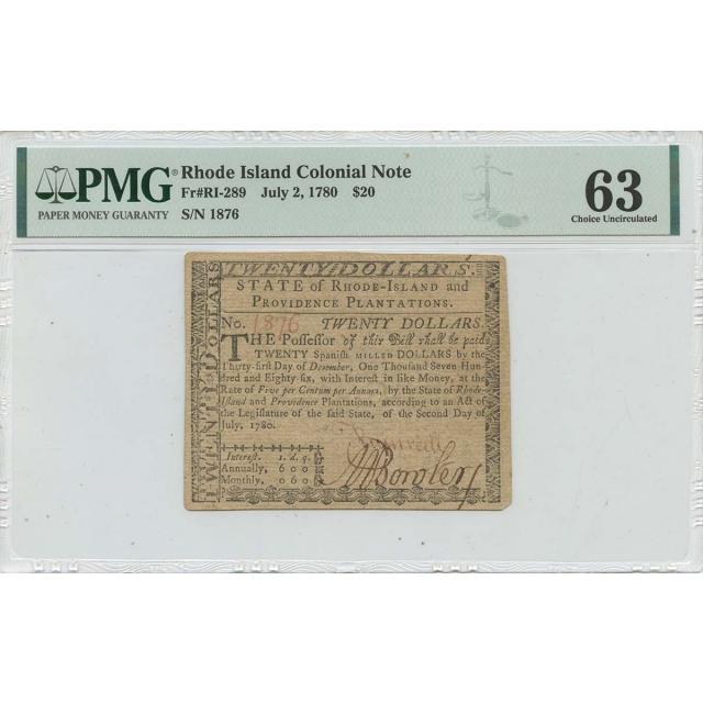 1780 July 2 $20 Rhode Island Colonial Note RI-289 PMG CU63 Issued