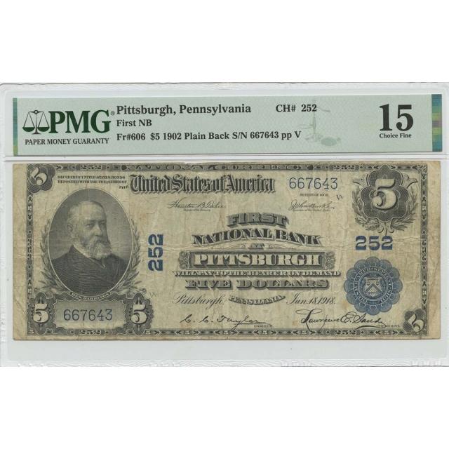 1902 $5 First NB Pittsburgh PA Plain Back NGC CH F15