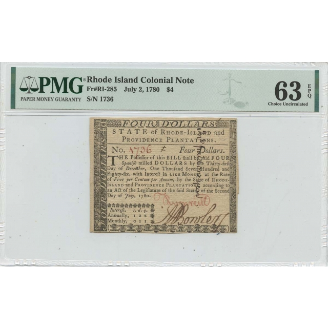 1780 July 2 $4 Rhode Island Colonial Note RI-285 PMG zCU63 EPQ Issued
