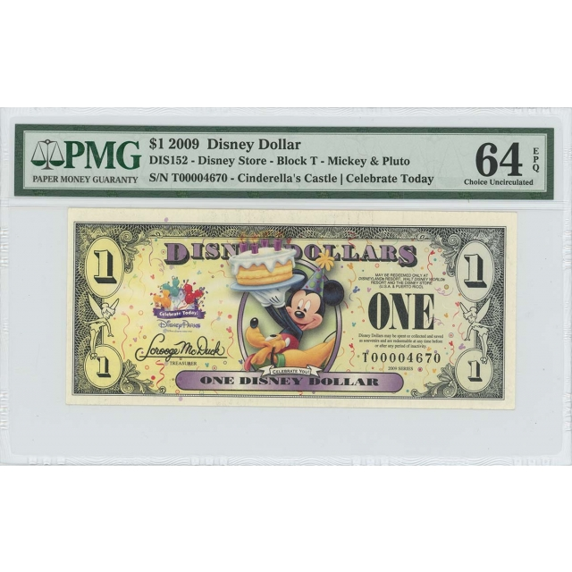 2009 $1 Disney Dollar DIS152 PMG 64 EPQ Cinderella's Castle