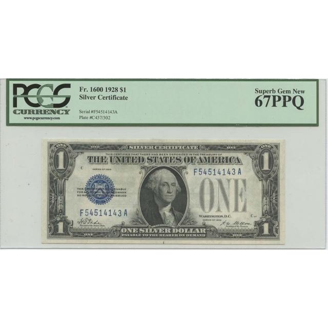 1928 $1 Silver Certificate FR# 1600 PCGS 67 PPQ Superb Gem New