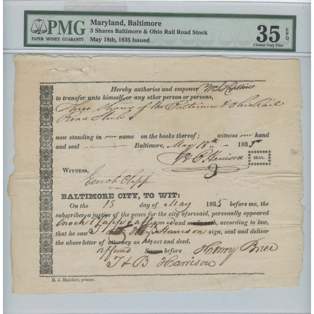 Maryland Baltimore 3 Shares Baltimore & Ohio Rail Road 1835 Issued PMG VF35