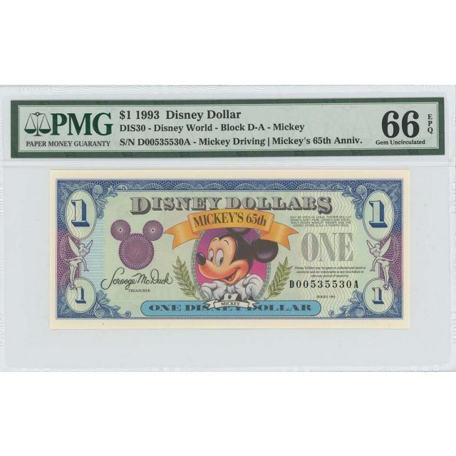 1993 $1 Disney Dollar DIS30 PMG 66 EPQ Mickey Driving
