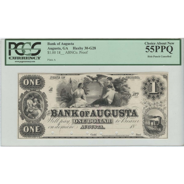 18__'s $1Proof Bank Augusta GA PCGS Obsolete 55 PPQ Choice About New