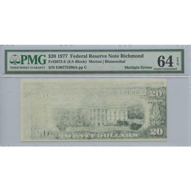 1977 $20 FRN PMG 64 EPQ Multiple Errors Choice Uncirculated