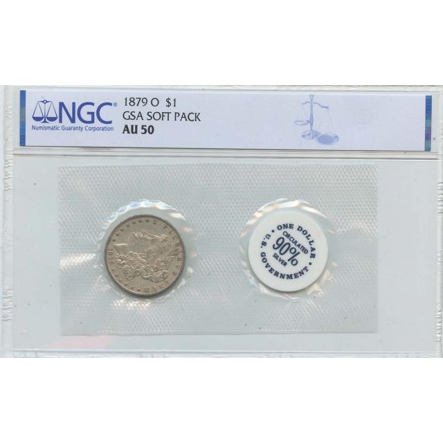 1879-O Morgan Dollar GSA SOFT PACK S$1 NGC AU50