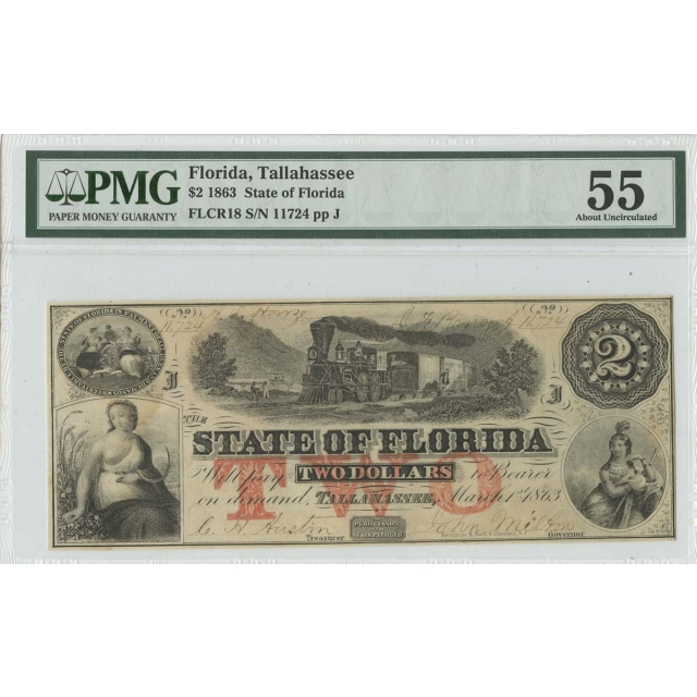 1863 $2 Florida Tallahassee Haxby OBSFLCR18 PMG 55
