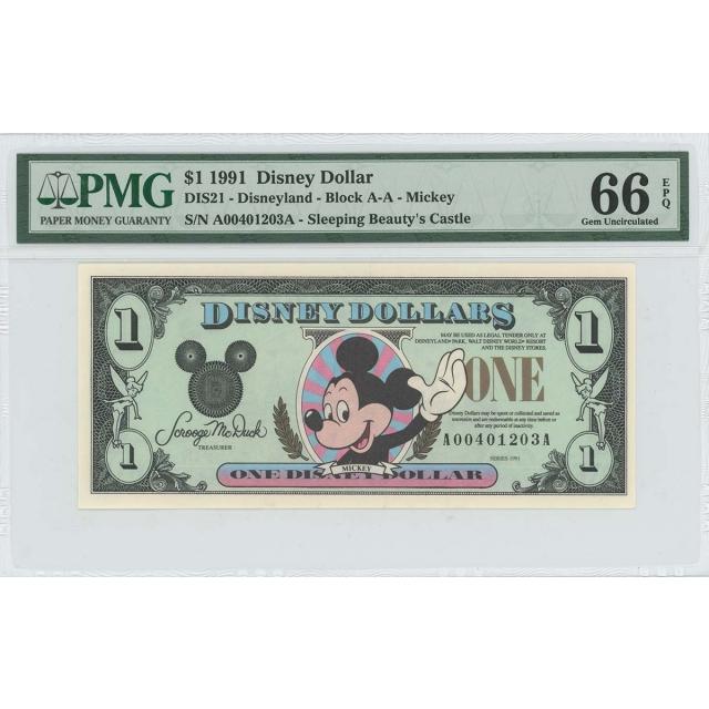 1991 $1 Disney Dollar DIS21 PMG 66 EPQ Sleeping Beauty's Castle