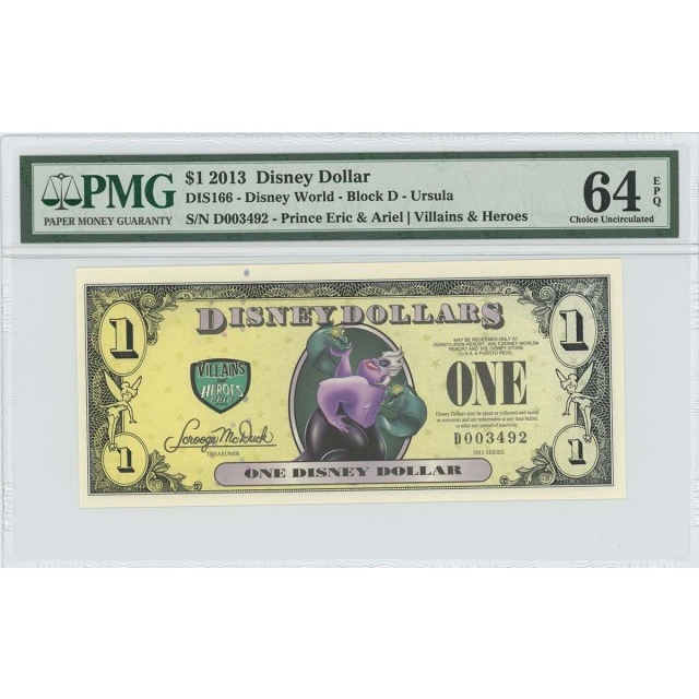 2013 $1 Disney Dollar DIS166 PMG 64 EPQ The Little Mermaid Ursula
