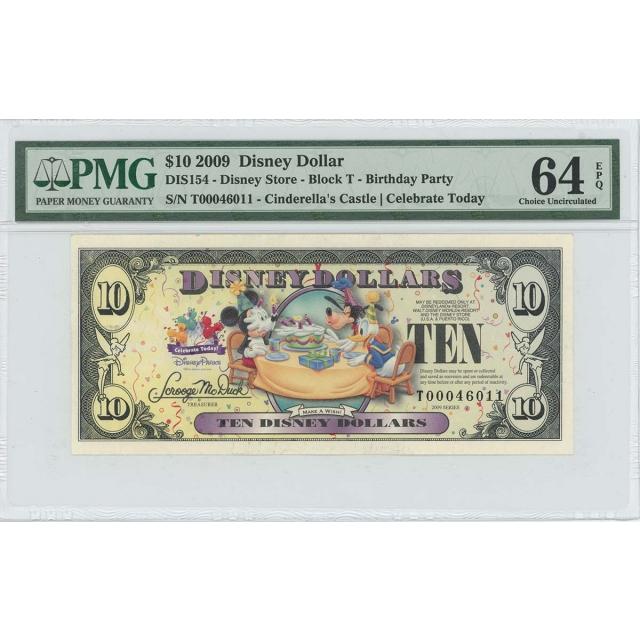 2009 $10 Disney Dollar DIS154 PMG 64 EPQ Cinderella's Castle