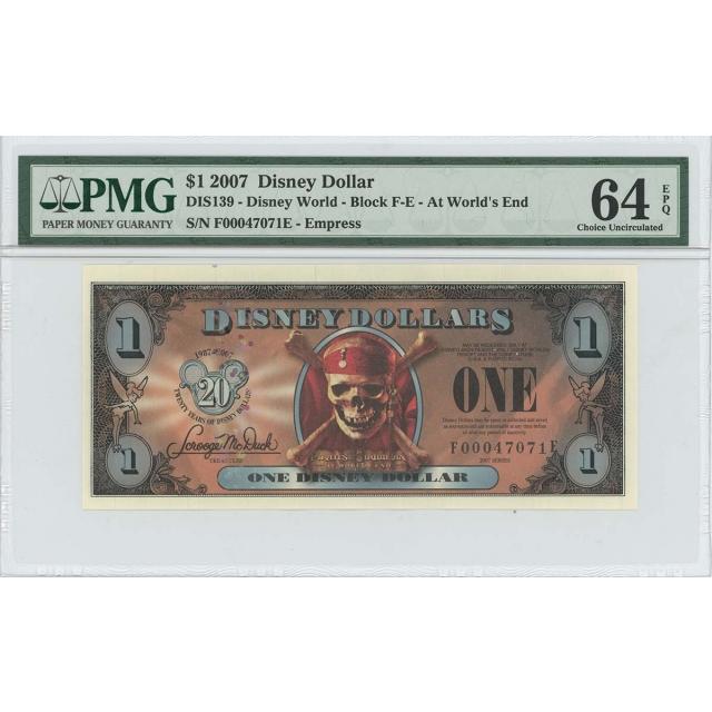 2007 $1 Disney Dollar DIS139 PMG 64 EPQ Pirates of the Caribbean