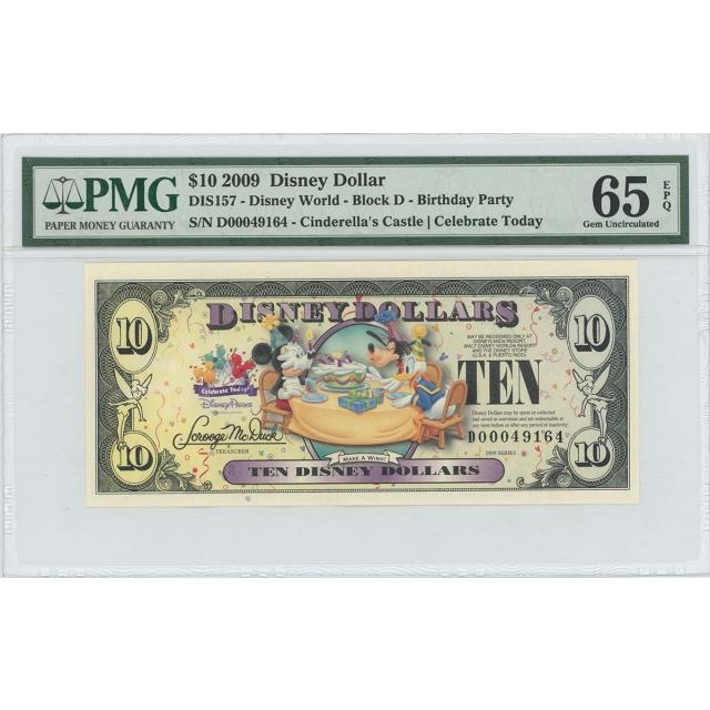 2009 $10 Disney Dollar DIS157 PMG 65 EPQ Cinderella's Castle
