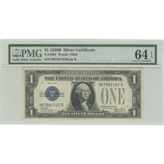 1928B $1 Silver Certificate FR#1602 PMG 64 EPQ CH UNC