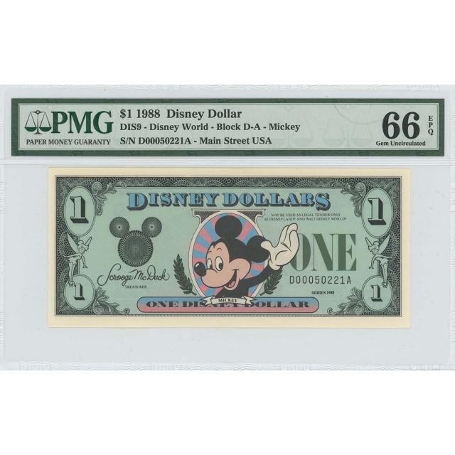 1988 $1 Disney Dollar DIS9 PMG 66 EPQ