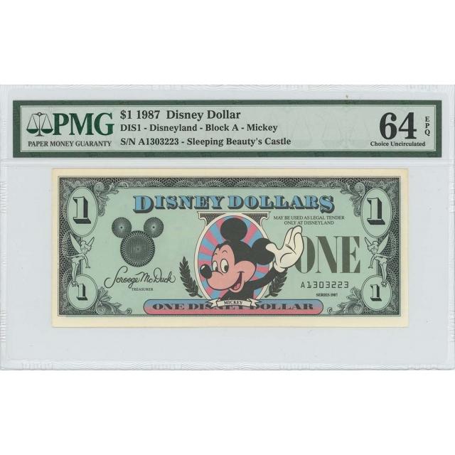 1987 $1 Disney Dollar DIS1 PMG 64 EPQ