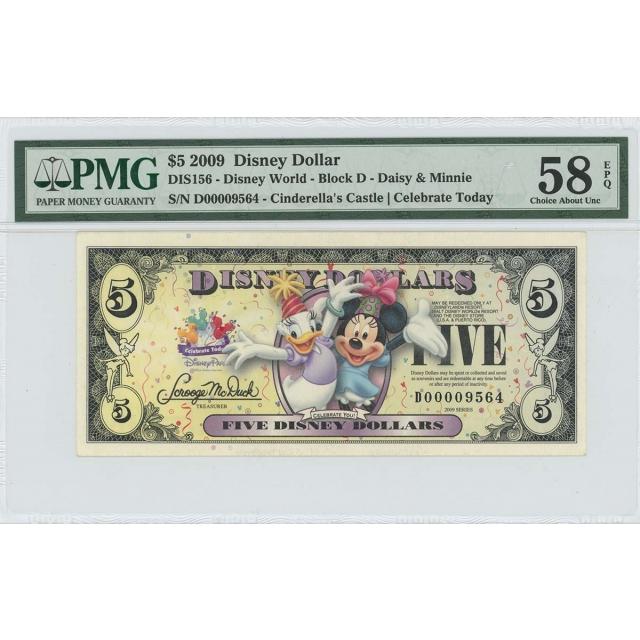 2009 $10 Disney Dollar DIS156 PMG 58 EPQ