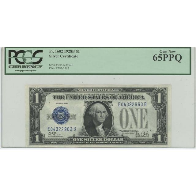 1928B $1 Silver Certificate FR#1602 PCGS 65 PPQ Gem New