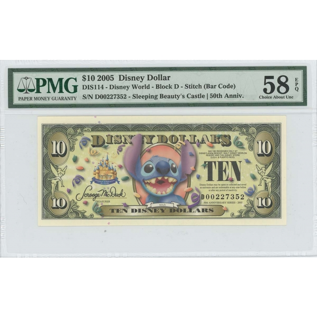 2005 $10 Disney Dollar DIS114 PMG 58 EPQ Sleeping Beauty's Castle Stitch
