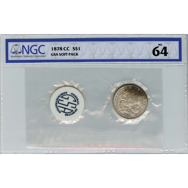 1878-CC Morgan Dollar GSA SOFT PACK S$1 NGC MS64