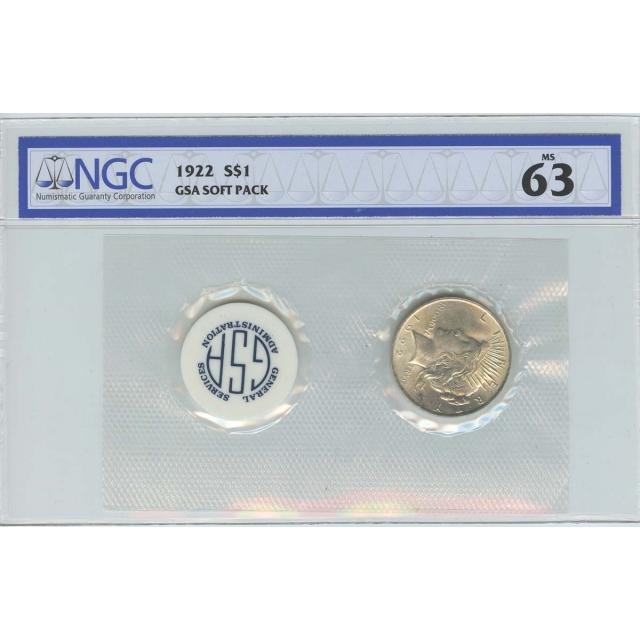 1922 Peace Dollar GSA SOFT PACK S$1 NGC MS63