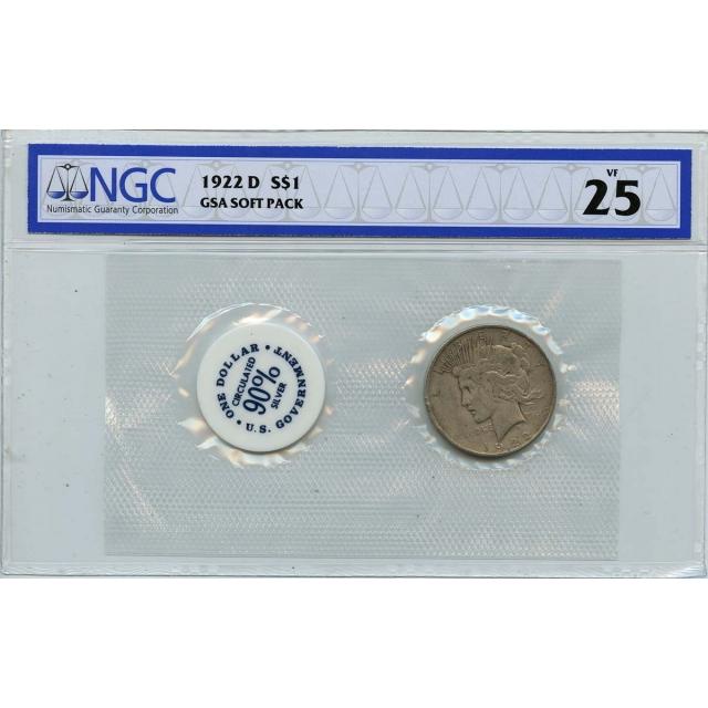 1922 D Peace Dollar GSA SOFT PACK S$1 NGC VF25