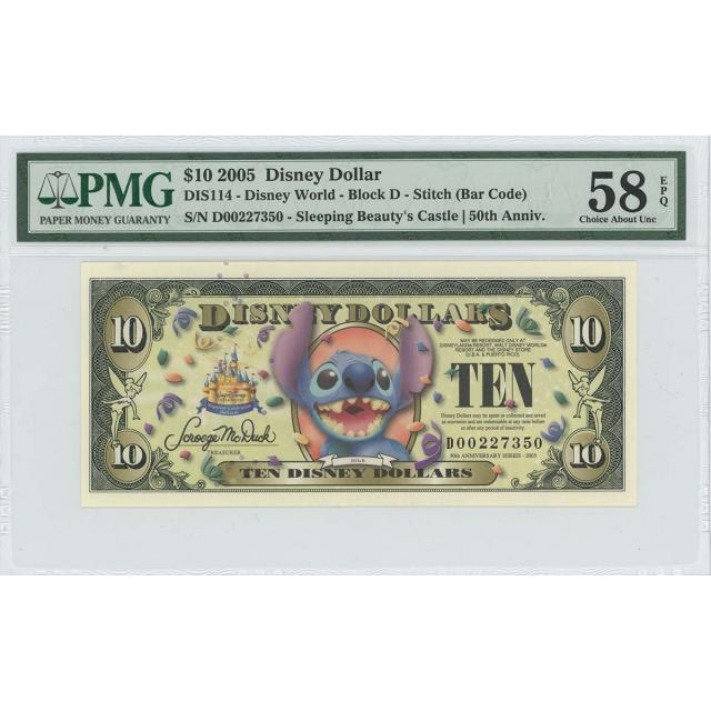 2005 $10 Disney Dollar DIS114 PMG 58 EPQ