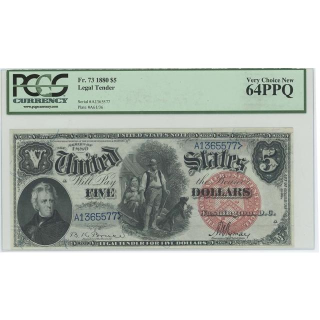 1880 $5 Legal Tender Large Red Plain Bruce Wyman FR#73 PCGS MS64 PPQ