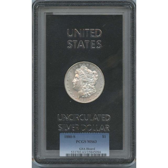 1880-S Morgan Dollar GSA Hoard $1 PCGS MS 63
