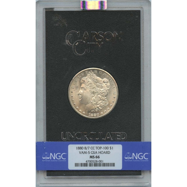 1880 8/7-CC TOP-100 Morgan Dollar VAM-5 GSA HOARD S$1 NGC MS66
