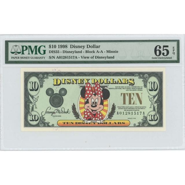 1998 $10 Disney Dollar DIS55 PMG 65 EPQ Minnie